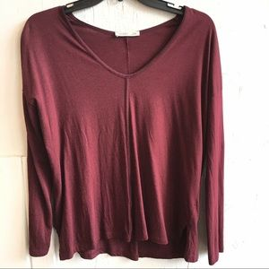 Zara Small Burgundy Red Long Slouchy Sleeve Top